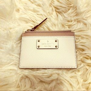 Kate Spade Zip Coin Card Holder, White/Taupe